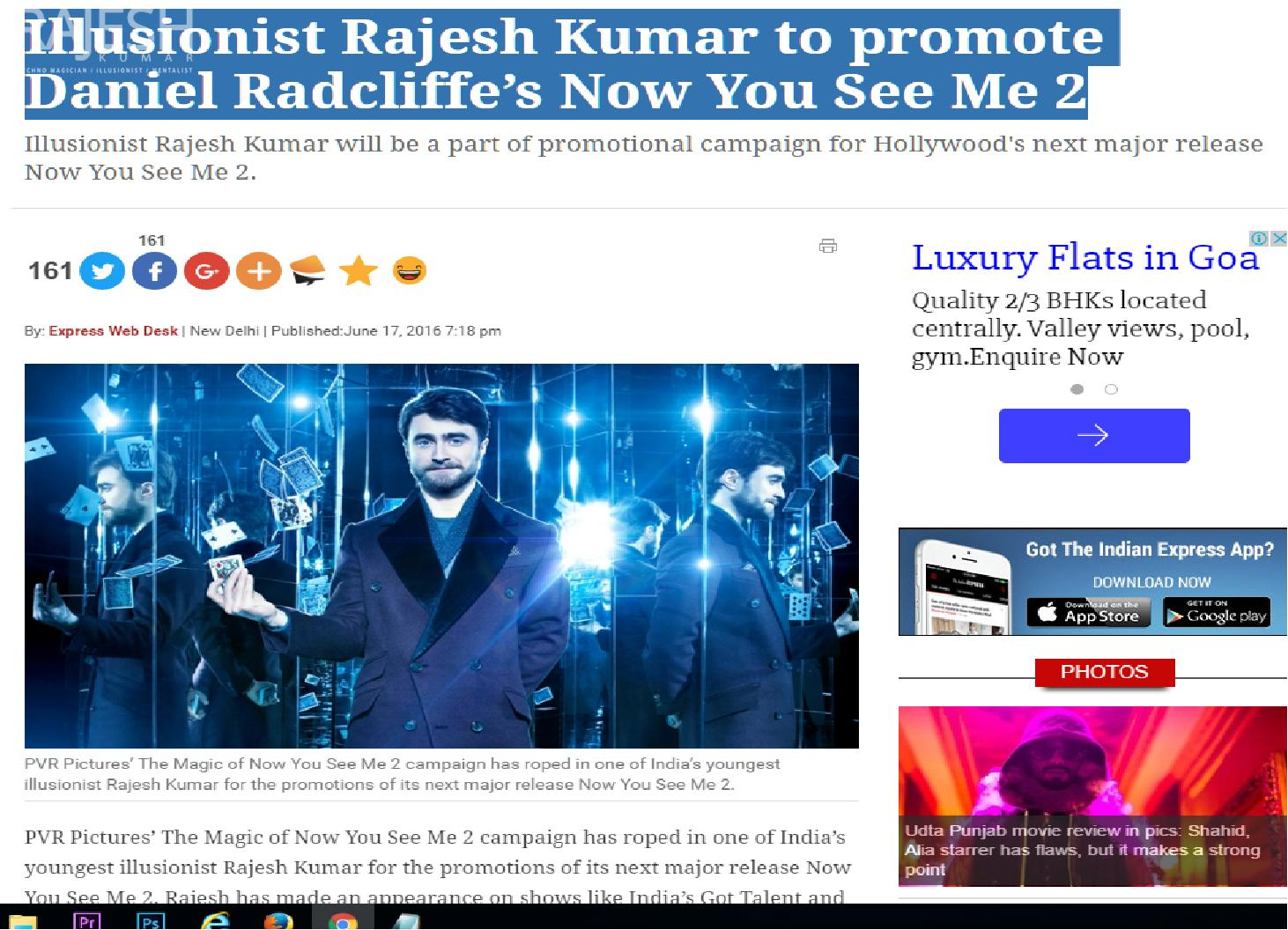 Illusionist / magician Rajesh Kumar to promote Daniel Radcliffe's Now You See Me 2